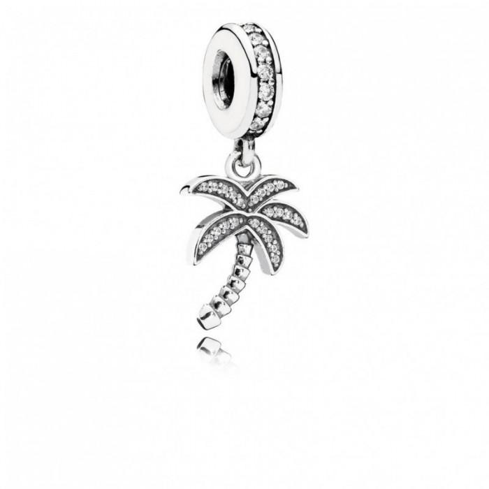 Pandora Charm Sparkling Palm Tree Dangle Clear CZ Jewelry