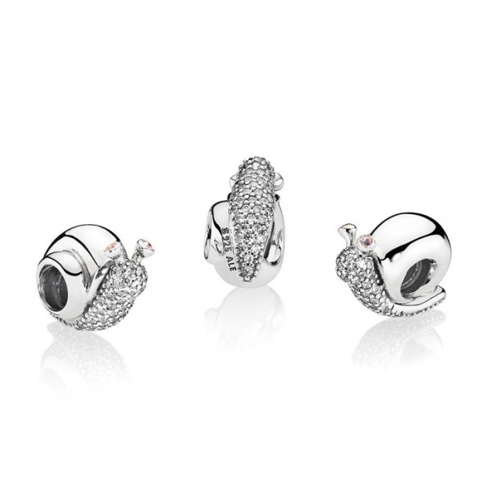 Pandora Charm Sparkling Snail Clear Orchid CZ Jewelry
