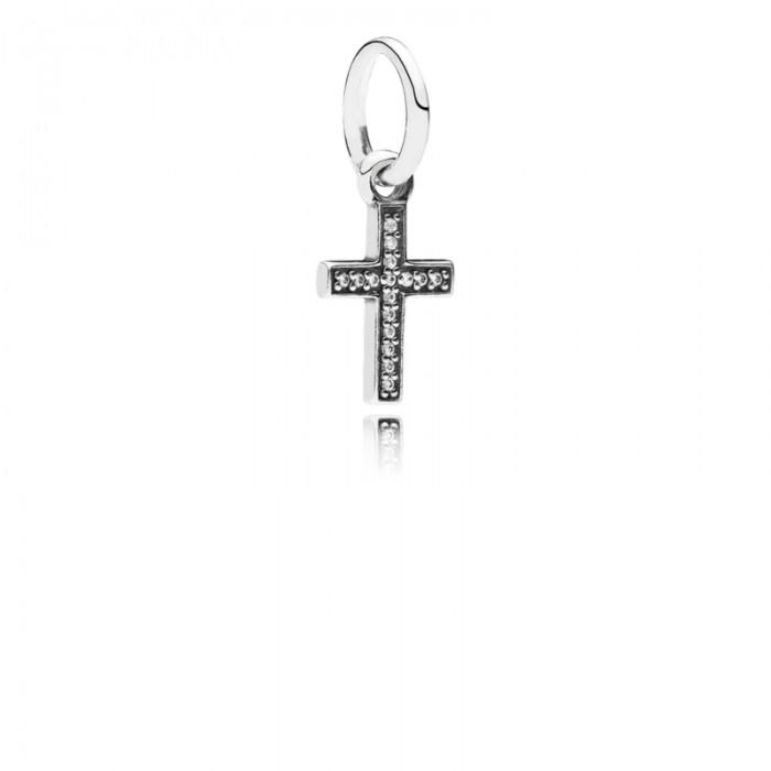 Pandora Charm Symbol Faith Cross Dangle Clear CZ Jewelry