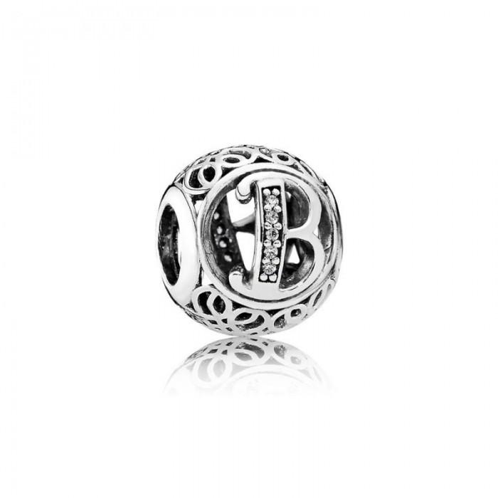 Pandora Charm Vintage B Clear CZ Jewelry
