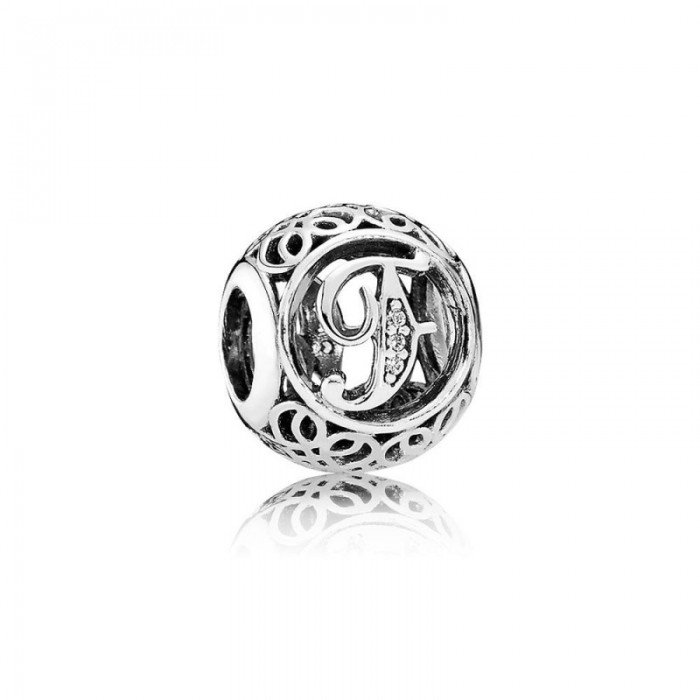 Pandora Charm Vintage F Clear CZ Jewelry