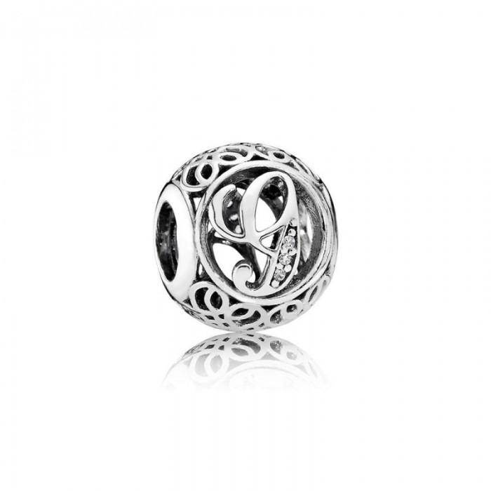 Pandora Charm Vintage G Clear CZ Jewelry