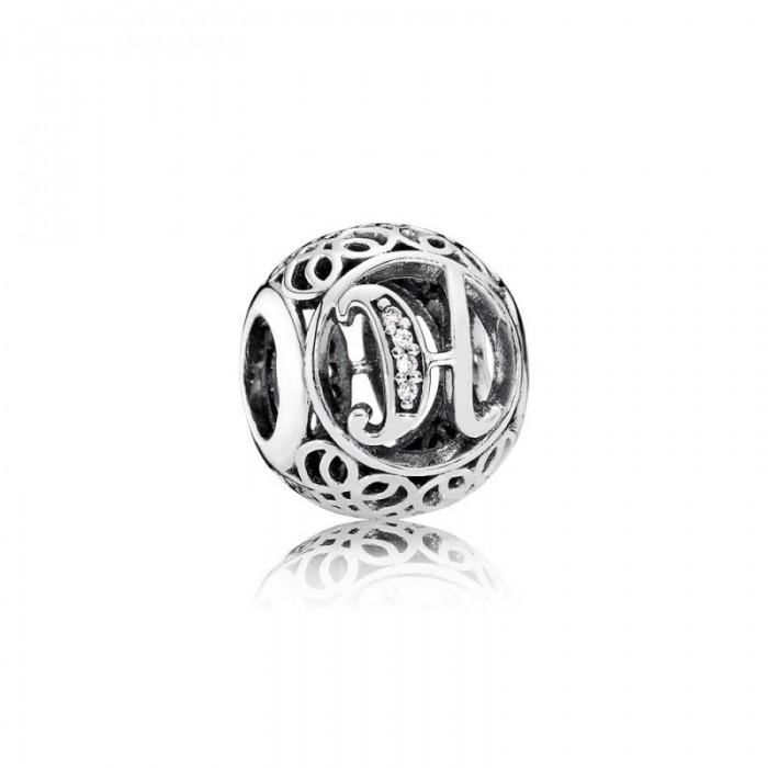 Pandora Charm Vintage H Clear CZ Jewelry