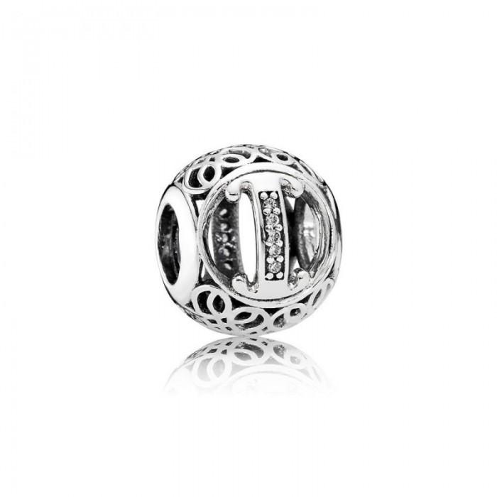 Pandora Charm Vintage I Clear CZ Jewelry