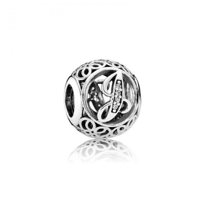 Pandora Charm Vintage J Clear CZ Jewelry