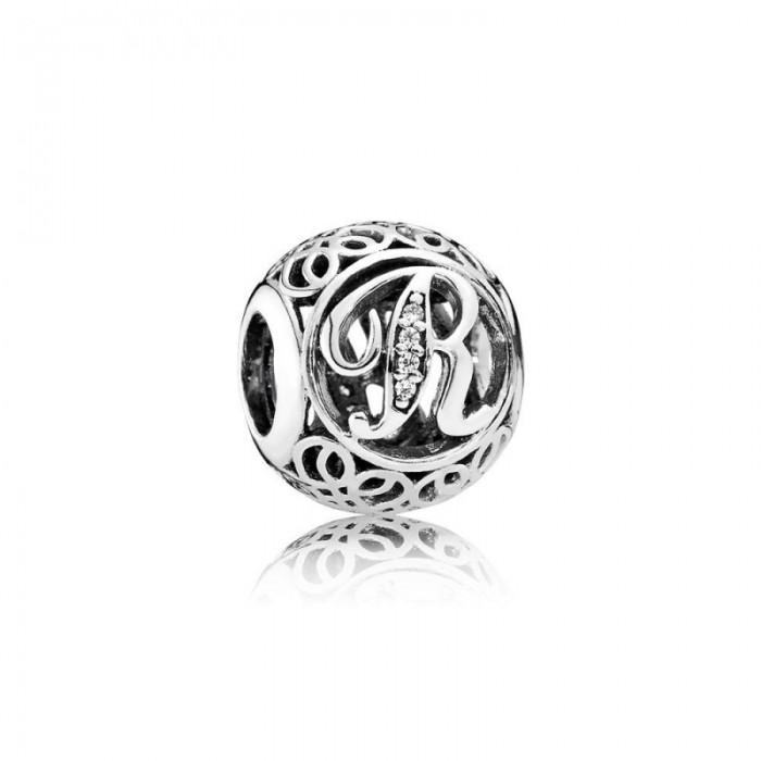 Pandora Charm Vintage R Clear CZ Jewelry