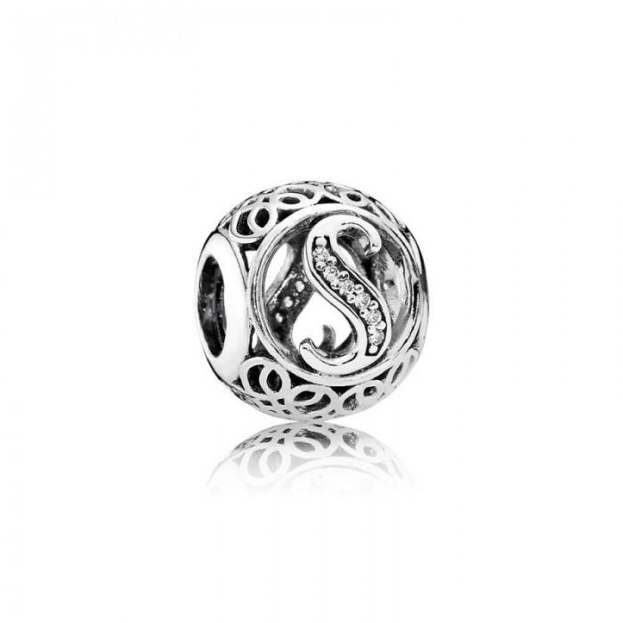 Pandora Charm Vintage S Clear CZ Jewelry
