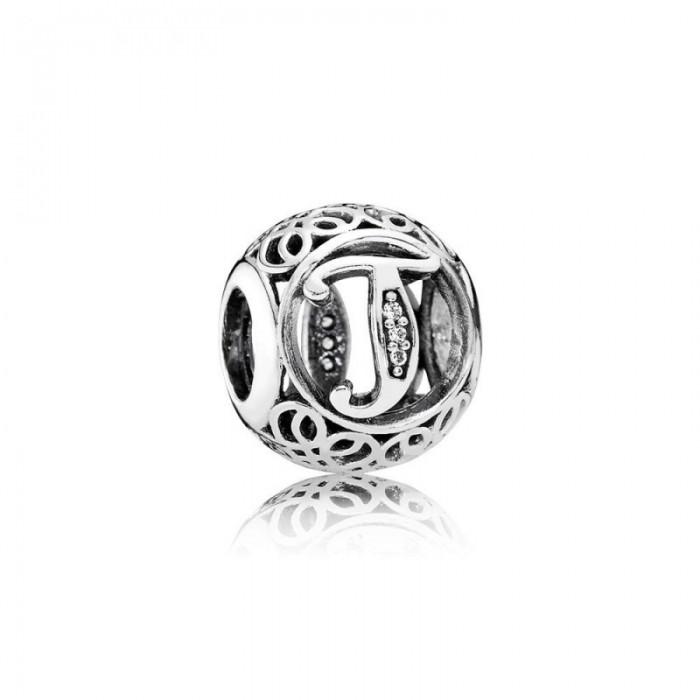 Pandora Charm Vintage T Clear CZ Jewelry