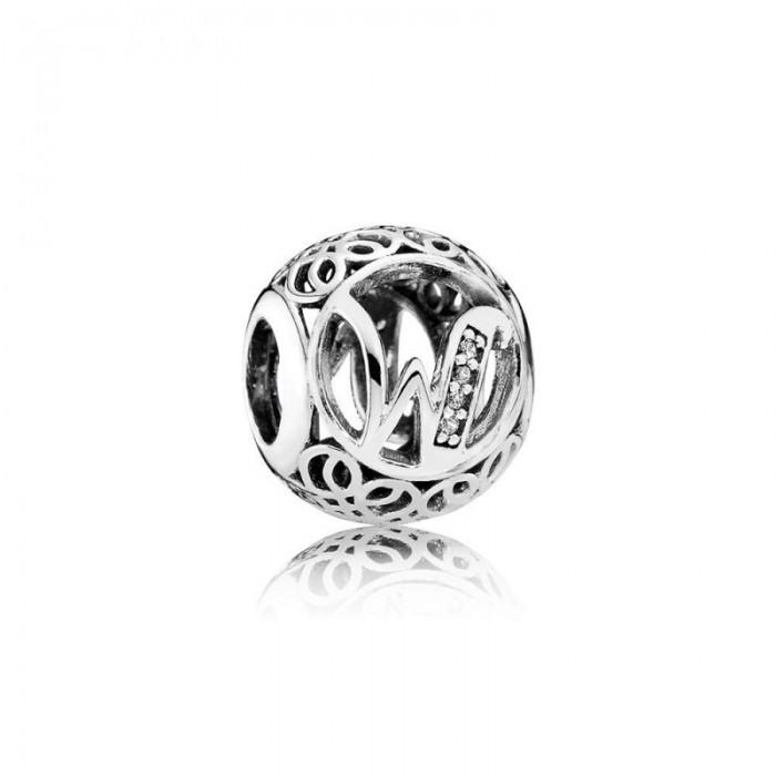 Pandora Charm Vintage W Clear CZ Jewelry