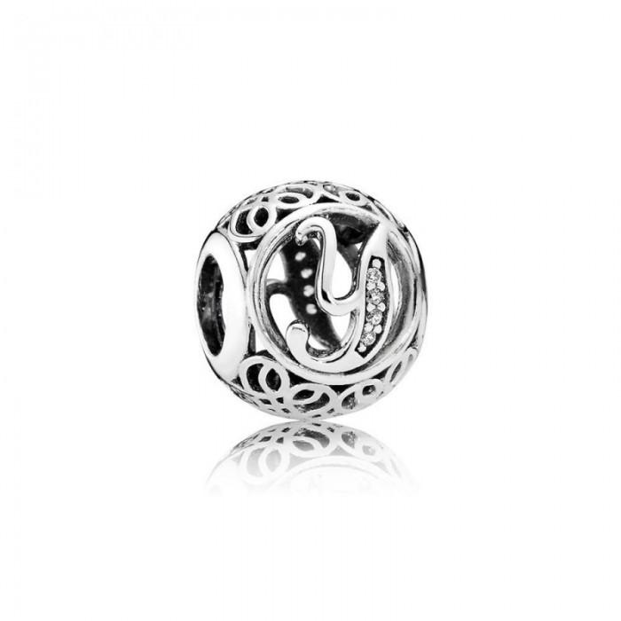 Pandora Charm Vintage Y Clear CZ Jewelry