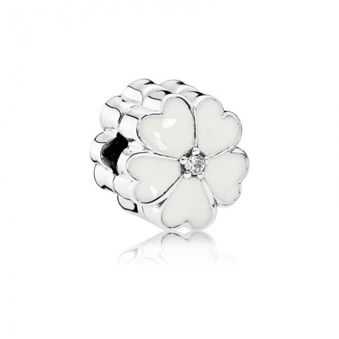Pandora Charm White PrimRoseClip White Enamel Clear CZ Jewelry