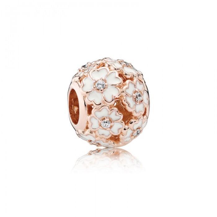 Pandora Charm White PrimRoseMeadow Rose White Enamel Clear CZ Jewelry