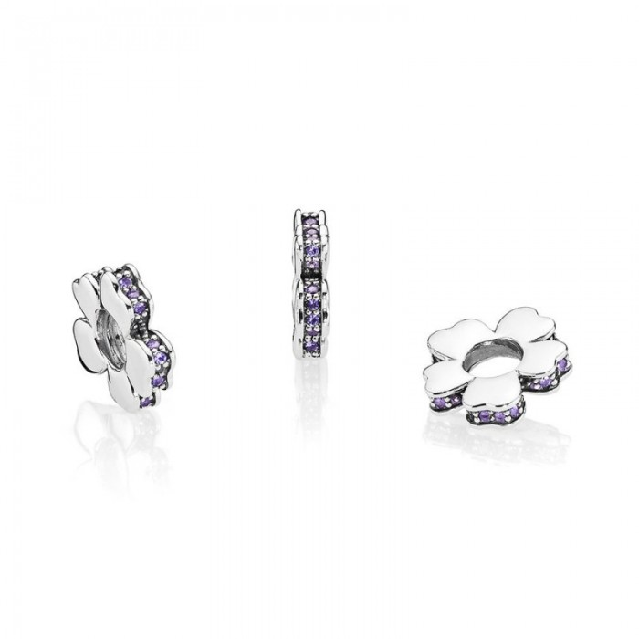 Pandora Charm Wildflower Meadow Spacer Lilac Crystals Jewelry