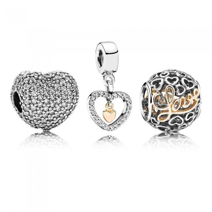 Pandora Charm Delicate Hearts Love Jewelry