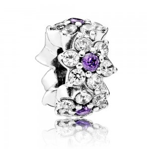Pandora Charm Forget Me Not Floral CZ Silver Jewelry