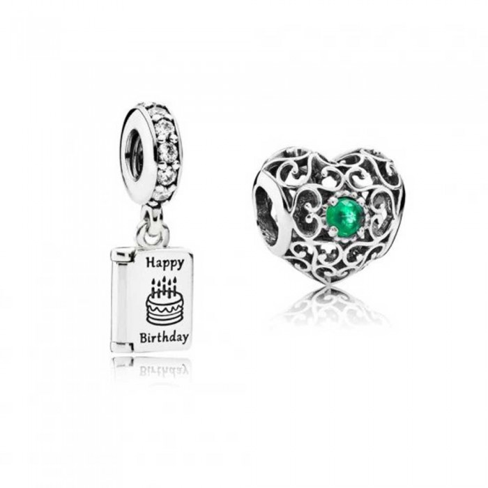 Pandora Charm May Birthday Birthstone Silver Jewelry