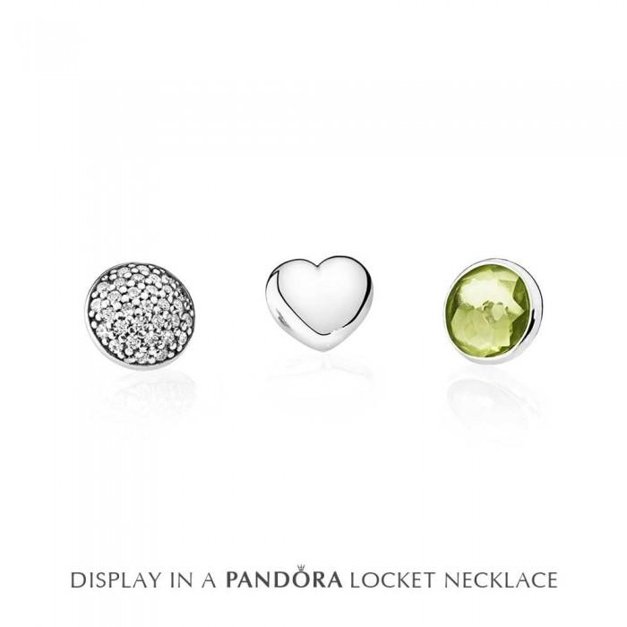 Pandora Charm Petite Memories August Peridot Birthstone Locket Silver Jewelry
