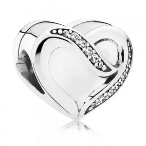 Pandora Charm Silver Ribbon Of Love CZ Jewelry