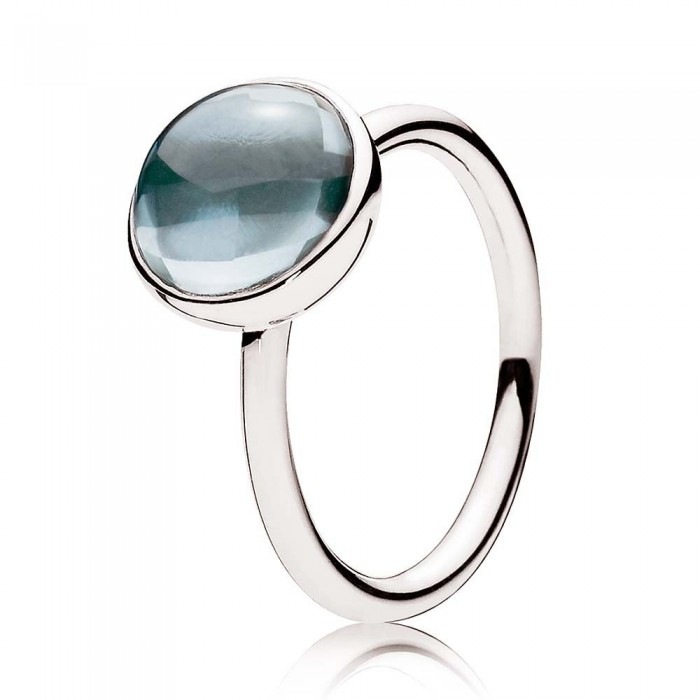 Pandora Ring Blue Poetic Droplet Jewelry