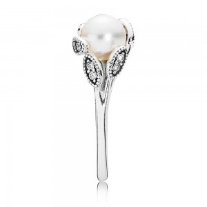 Pandora Ring Luminous Leaves Pearl Jewelry