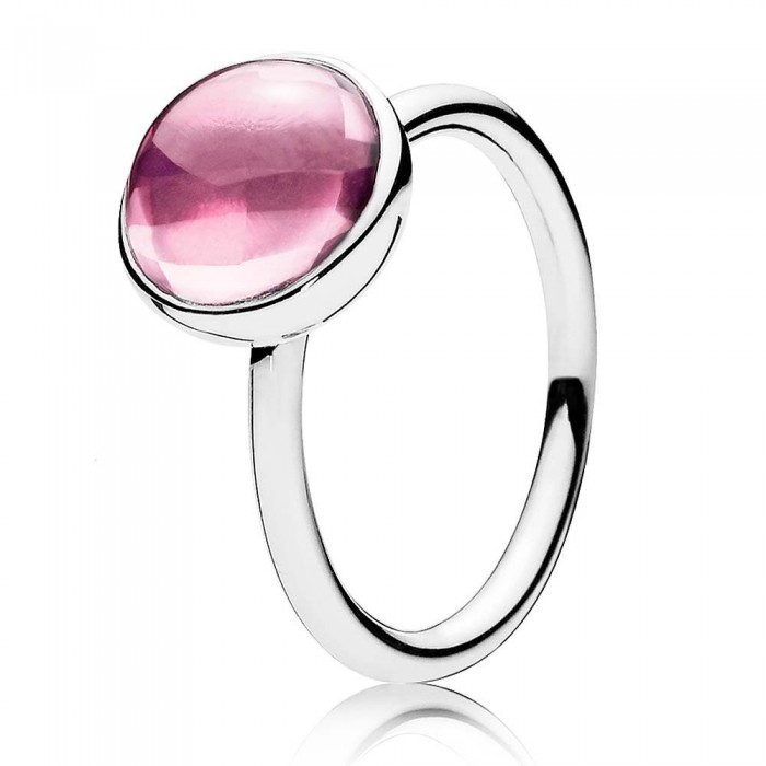 Pandora Ring Pink Poetic Droplet Sterling Silver Jewelry