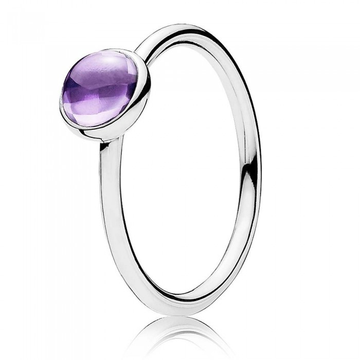 Pandora Ring Purple Poetic Droplet Sterling Silver Jewelry