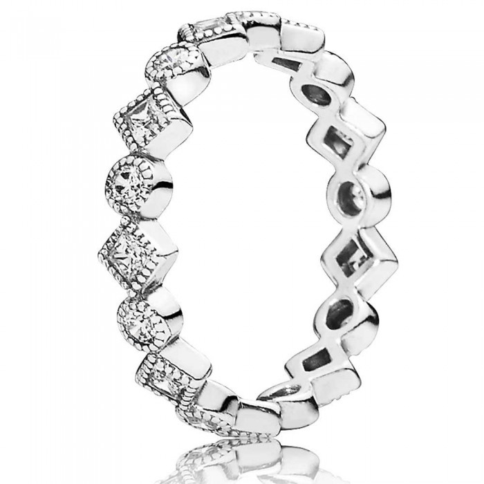 Pandora Ring Round Square Eternity Jewelry