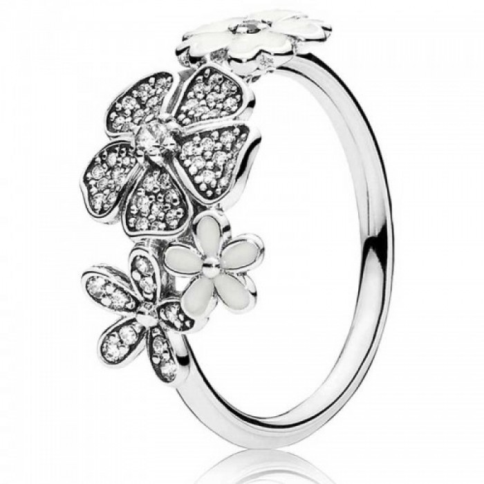 Pandora Ring Shimme Bouquet Floral Enamel Jewelry