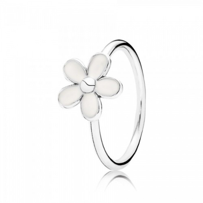 Pandora Ring White Daisy Flower Enamel Jewelry
